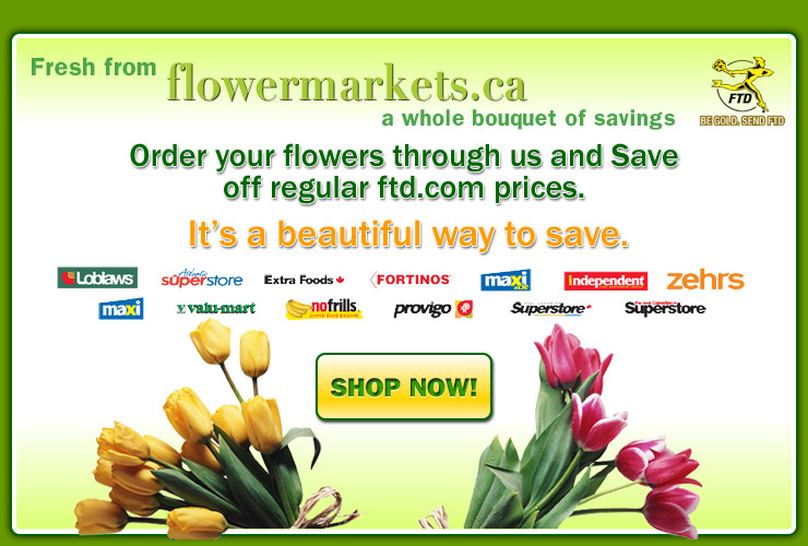 Order your flowers through us and save up to 25% OFF the FTD.com price. shop now!